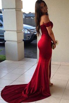 fad327c2562 Red Sexy Off Shoulder Mermaid Split Satin Prom Dress