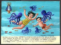 Mexican Exvoto retablo ex voto Surrounded by Octopi