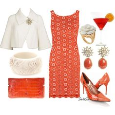 She looked so cosmopolitan in her blood orange ensemble, created by sadiesue on Polyvore
