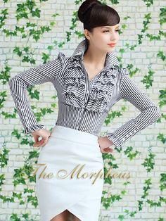 Black Stripe Designer Vintage Lady Ruffle Collar Sleeve Shirt/top