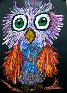 Owls - The website of kunstopdemagnolia! Classroom Art Projects, 2nd Grade Art, Jr Art, Winter Art Projects, Ecole Art, Bubble Art, Scribble Art, Art Lessons Elementary, Indigenous Art