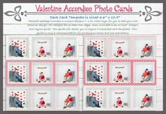 BUNDLE PACK - ALL 3 SETS OF PHOTO BOOTH AND ACCORDION STRIPS VALENTINE'S DAY TEMPLATE CARDS FOR INSIDE THE BOX AND GENERAL PHOTOGRAPHY Box Design Templates, Valentines Day Card Templates, Inside The Box, Custom Cards, Word Art, Photo Cards, Photo Booth, Digital Scrapbooking, Prints