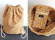 Turnbeutel mit Innentasche senfgelb beige Rucksack von simka // made in berlin auf DaWanda.com