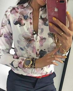 Style:Fashion Pattern Type:Floral Polyester Neckline:V-Neck Sleeve Style:Long Sleeve Decoration:Floral Print ,Button Design Length:Regular Occasion:Casual Package Blouse Note: There Mode Outfits, Casual Outfits, Fashion Outfits, Fashion Clothes, Women's Fashion, Cheap Fashion, Fashion Women, Fashion Online, Fashion Stores