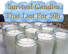 How to make your own emergency 50 hour candles for around $1.62 each! These long burning candles sell for around 20 bucks each. Candles are an easy-to-use source of emergency lighting and a little bit of heat. I'm shocked to see some of the prices that are charged for long burning candles sold for s…