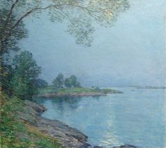 """""""Moonlight, Kittery, Maine (Nocturne),"""" Willard Leroy Metcalf, 1912, oil on canvas, 26 x 29"""", private collection."""