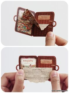 folded business cards.  Plus this person is based in Indonesia, so you know it's got to be awesome.