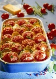 Gratin de courgettes et pommes de terre aux tomates entières