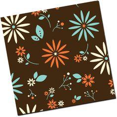 Vintage Flower - Teal, Cream & Papaya - 8 Sheets Chocolate Transfer Sheet