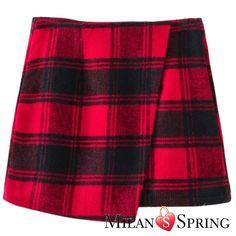 Red Lattice Sexy Short skirt