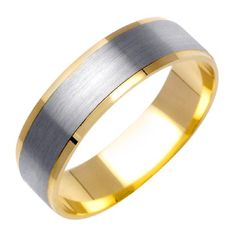 Jewel Tie Solid 14k Two Toned Gold 6mm Diamond-Cut Mens Wedding Ring Band 12.5 Size