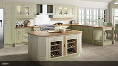 Gallery Rigid Framed Timber Painted Green-Sheraton Kitchens- Omega
