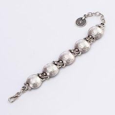Turkish collection, base metal. Hammered 5 knob bracelet. Hook fastener.  www.ChristianLivingston.com