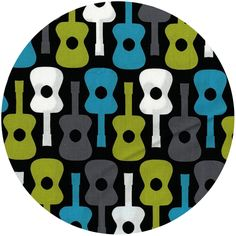"""Michael Miller Groovy Guitars Lagoon (1/2 Yard)  Fabric is sold by the ½ Yard. For example, if you would like to purchase 1 Yard, you would enter 2 in the Qty. box at Checkout. Yardage is cut in one continuous piece.  Examples:  ½ yard = 1 1 yard = 2 1 ½ yards = 3 2 yards = 4  ½ Yard Measures 18"""" x 44""""  Fiber Content: 100% Cotton  These new prints from Michael Miller are so graphic and uniquely modern.  They work great as focus prints or coordinates!  So cute for your modern tot!"""