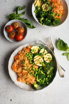 A fresh tomato risotto with grilled greens, and my top tips on making the perfect risotto!