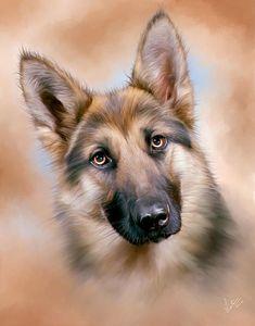 A digital oil painting of a #GermanShepherd Alsation #Dog