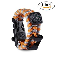 Paracord Survival Bracelet 500 LB with Bottle Opener - Knife Scraper - Whistle - Flint Fire Starter - Compass - Tactical and Survival Gear Kit - Perfect for Hiking, Camping, Fishing and Hunting Cool Gadgets For Men, Kids Gadgets, Best Gifts For Him, Unique Gifts For Men, Gifts For Teen Boys, Gifts For Teens, Emergency Survival Kit, Survival Gear, Hunting Accessories