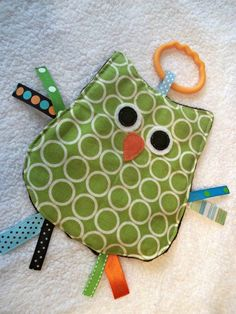 OWL Crinkle Crackle Sensory Owl Taggie Toy in Metro by MBDesigns, $7.95