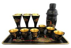 Japanese Lacquer #Cocktail Set, 14 Pcs hand-painted with koi fish and temple scenes and gold gilt interiors. Original 3 part shaker with screw top and cap in great condition by Ruby + George on @One Kings Lane