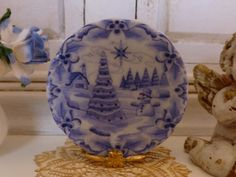 Blue Delft Christmas Tree Dollhouse Miniature Plate