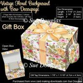 Gift Box Vintage Floral Background with Bow Decoupage