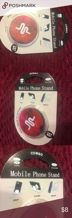 🍂New🍂 Red Phone Gripper Mount 🍂This is a very trendy Mount ! It is a sticky pad mount that is sturdy and very handy. This makes it easier to hold your phone or use a stand on a table . These make great gifts and stocking stuffers!  Thank you for the shares, likes and your interest! 🍂 Happy Poshing !🙂❤️ Unbranded Accessories