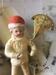 Wattefigur mit Porzellankopf für Federbaum, JDL, Shabby,Vintage | eBay