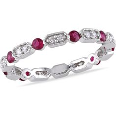 Miadora 14k White Gold Ruby 1/6ct TDW Diamond Eternity Ring red ($459) ❤ liked on Polyvore featuring jewelry, rings, red, round cut diamond rings, diamond eternity rings, 14k diamond ring, diamond rings and gold ruby ring