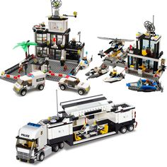 Assembling building blocks  police car series motorcycle explosion-proof police car