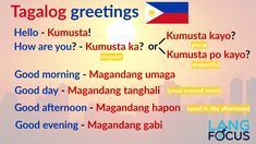 25 Basic Tagalog Phrases and Greetings Spanish Sentences, Spanish Words, Learn English Words, Tagalog Words, Tagalog Quotes, Words In Different Languages, Philippines, Filipino Words, Reading