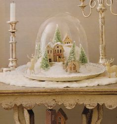 snow village under glass
