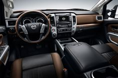 The Nissan Titan is a compact pickup truck manufactured in the United States for the North American market by Nissan. It was named for the Titans of Greek mythology. Development of the Titan began in September Nissan Xterra, Nissan Altima, Nissan Navara 2017, Titan Diesel, 2017 Nissan Titan Xd, Melania Trump, Nissan Trucks, Detroit Auto Show, Interior Photo