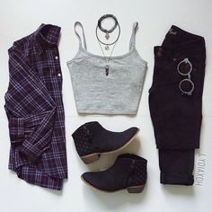 | Grey Crop Top | Black High Waisted Jeans | Plum Colored Flannel | Studded Ankle Booties | Tattoo Chokers | Retro Sunglasses |
