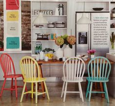 Colour Your Kitchen. Clipped from Better Homes and Gardens using Netpage. Colored Dining Chairs, Table And Chairs, Kitchen Chairs, Kitchen Redo, Kitchen Ideas, Colorful Chairs, Room Inspiration, Outdoor Furniture Sets, Furniture Refinishing