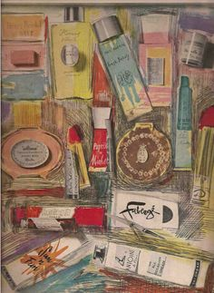 Andy Warhol - Cosmetic Editorial Illustration, ca. Andy Warhol, Henri Bendel, Arte Pop, American Artists, Artist At Work, Vintage Art, Vintage Vogue, Vintage Beauty, Illustrators