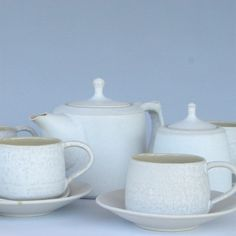 handcrafted tea set white by ClayAction on Etsy