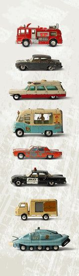Muursticker kinderkamer auto's - Hippe Dinky toys