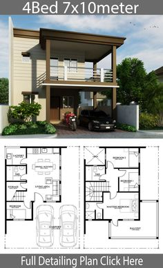 Home Design Plan With 4 Bedrooms. House description:One Car Parking and gardenGround Level: Living room, Dining room, Kitchen, One bedroom, Small House Design, Dream Home Design, Home Design Plans, Cool House Designs, Home Interior Design, Modern House Floor Plans, Dream House Plans, Small House Plans, Home Building Design