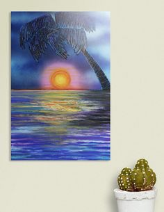 Discover «Tropical Sunset 2», Exclusive Edition Acrylic Glass Print by Laura Barbosa - From $85 - Curioos Gifts For Art Lovers, Thing 1, Clear Acrylic, Stocking Stuffers, Fine Art Prints, Tropical, Sunset, Glass, Artist