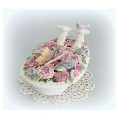 Baby Girl Nursery Decor Flowers and Bird Baby Girl Room Decor Baby Bird Baby Shower Gift Floral Ornament Decoration Miniature Bathroom Sweet ($20) found on Polyvore