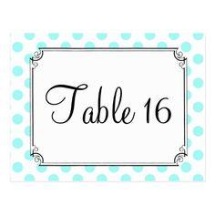 Polka Dot Wedding Reception Aqua and White Polka Dot Wedding Table Number Postcard