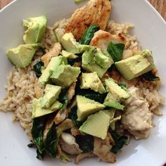 #lunch is chicken, spinach , avocado, and brown rice