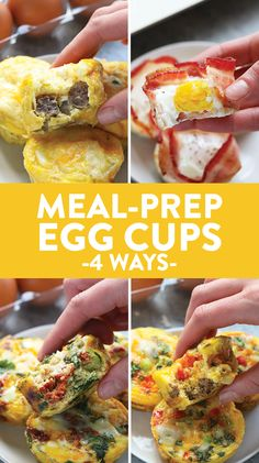 Whip up one of these breakfast egg cups so that you can have a healthy, high-protein snack or breakfast all week long! These yummy egg cups are ready in under 30 minutes and easy to meal prep. Breakfast Low Carb, How To Make Breakfast, Health Breakfast, Breakfast Recipes, High Protein Snacks, Diet Snacks, Health Snacks, Protein Foods, Pastas Recipes