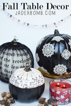 Fall Table Decor with easy DIY customized black and white craft pumpkins.