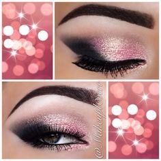 Makeupl0verr pink & gold sparkles smokey eye makeup look