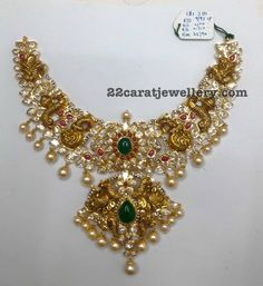 131 Grams Nakshi and Pachi Necklace - Jewellery Designs