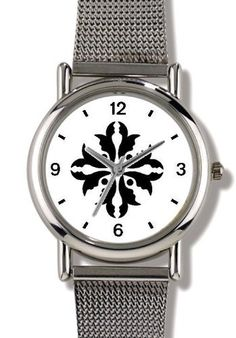 Floral Design (Black on White) 12 - WATCHBUDDY® ELITE Chrome-Plated Metal Alloy Watch with Metal Mesh Strap - Small ( Children's Size - Boy's Size & Girl's Size ) WatchBuddy. $79.95. Save 37% Off!