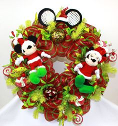 Disney Merry Christmas Mickey And Minnie Mouse Deco Mesh Door Wreath #Crazyboutdeco