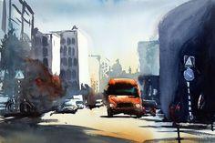 Best, Stockholm. Akvarell av Stefan Gadnell