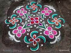 Rangoli 12 dots 2 lines end with 2 dots.: Rev's margazhi swastik kolam 14. by revathiilango